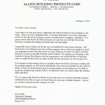 Allied Building Products Endorsement Letter
