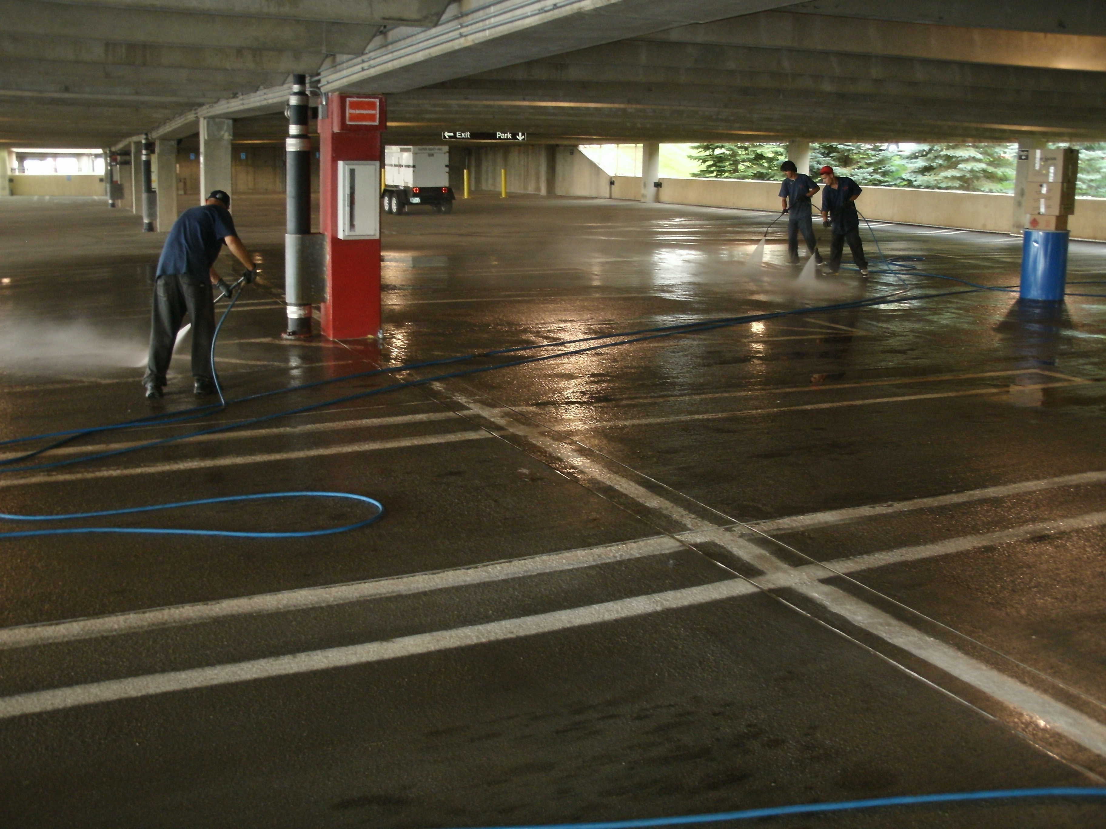 Parking Garage Cleaning Using A Fire Hose New Video Added