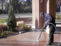 Pressure Washing Colored Sidewalks At The Broadmoor
