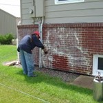 Pressure Washing Calcium From Brick House 6